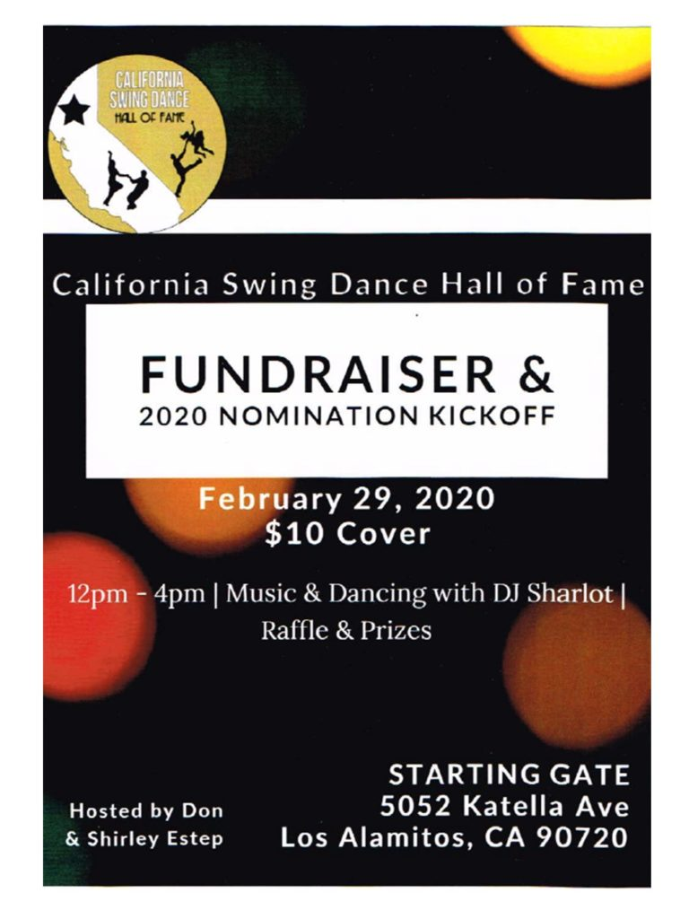 California Swing Dance Hall of Fame Fundraiser & 2020 Nomination Kickoff @ The Starting Gate | Los Alamitos | California | United States